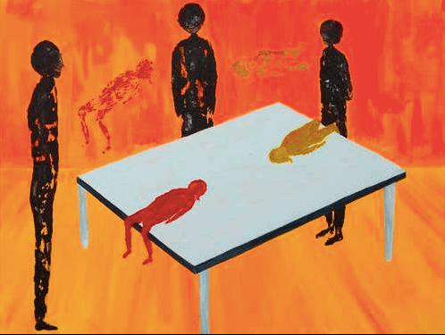 image of weird artwork inside comet ping pong