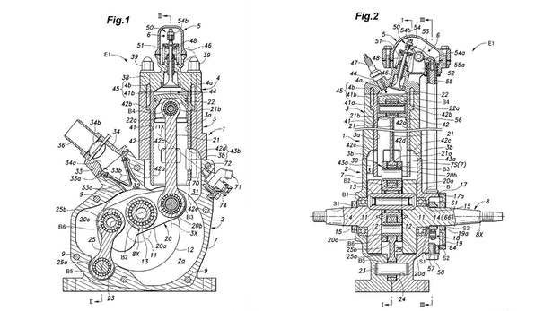 Honda unveils 2 stroke plans latestmxvideos this blueprint shows the new 2 stroke engine with fuel injector places at the top of the cylinder aimed at the back wall when the piston hits tdc top dead malvernweather Choice Image