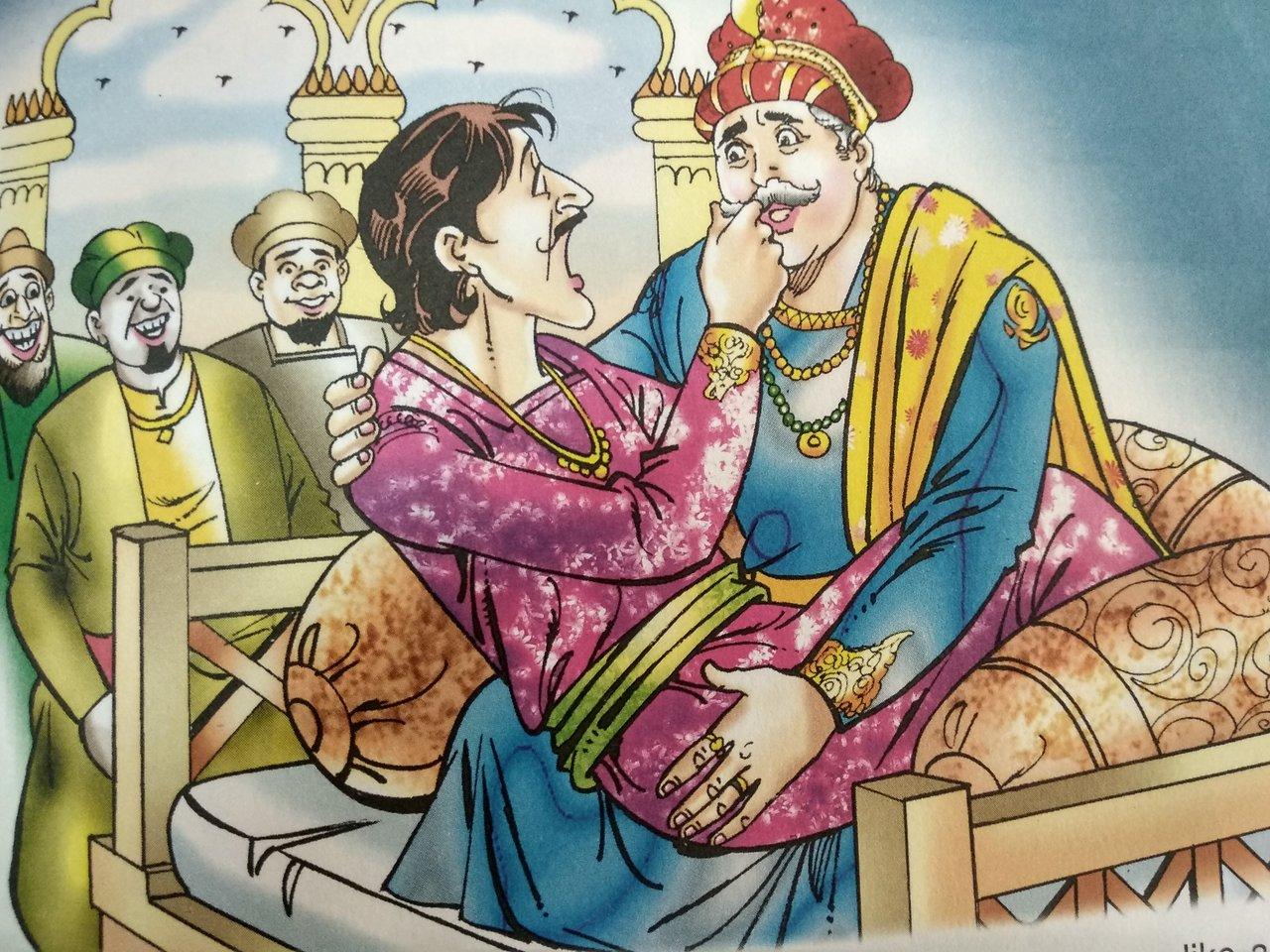 Telugu kids story-King praises Birbals Smartness