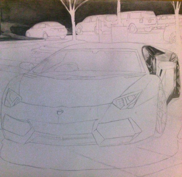 Drawing of Lamborghini Aventador by artistalfred — Steemit