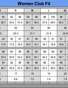 Women unisex club fit sizing chart also golf charts hobit fullring rh