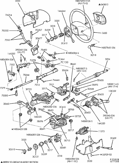 Ford E 150 Parts Diagram : parts, diagram, Exploded, Steering, Column, Services