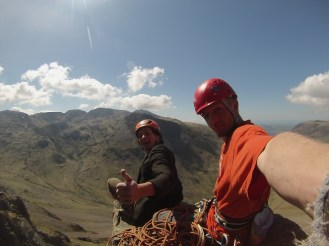 Sitting atop the napes needle as part of our Wasdale Triple challenge. Stefan climbed the route in Tweed, for extra authenticity.