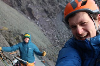 Bracing against high winds, Stefan still manages to take selfies.