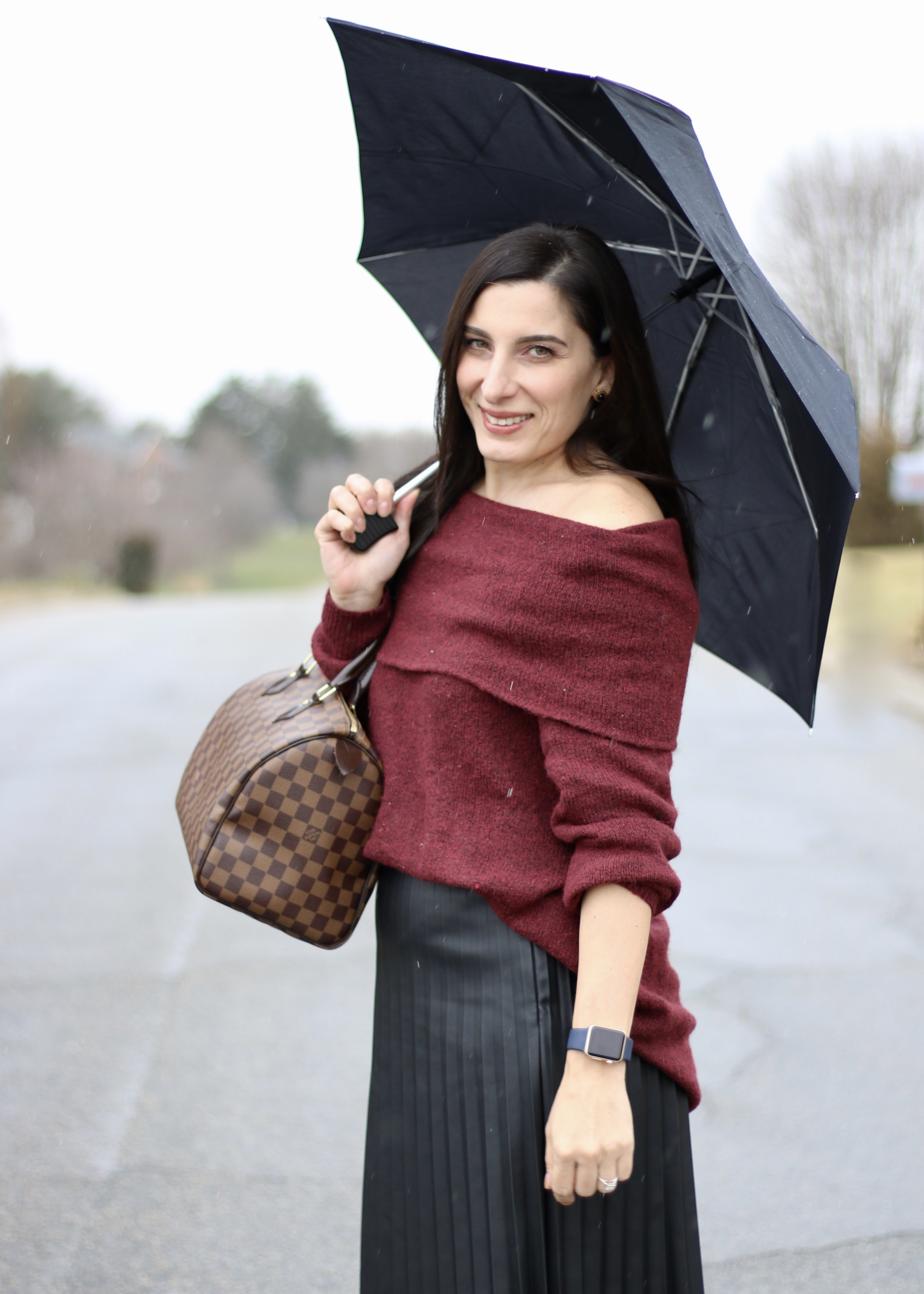Off The Shoulder Sweater, Pleated Leather Skirt, Over The Knee Boots, Louis Vuitton Speedy 30
