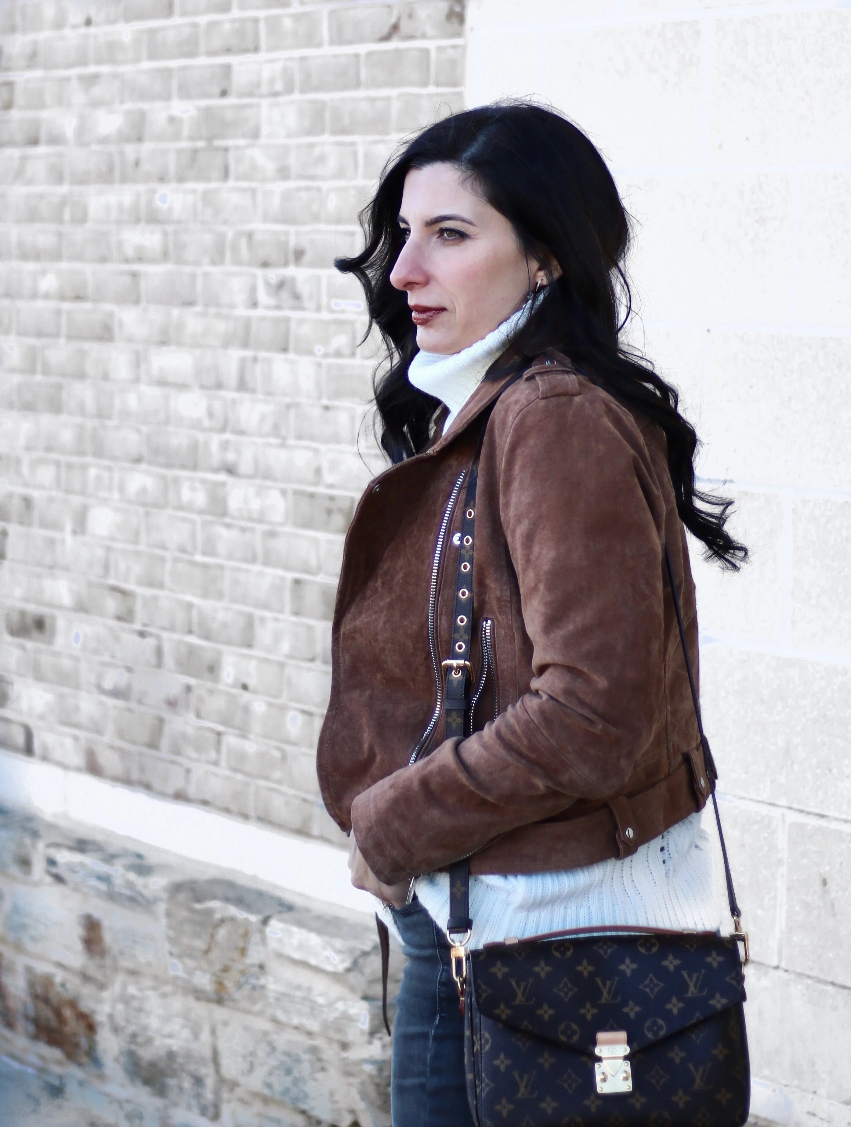 High waisted jeans, suede moto jacket