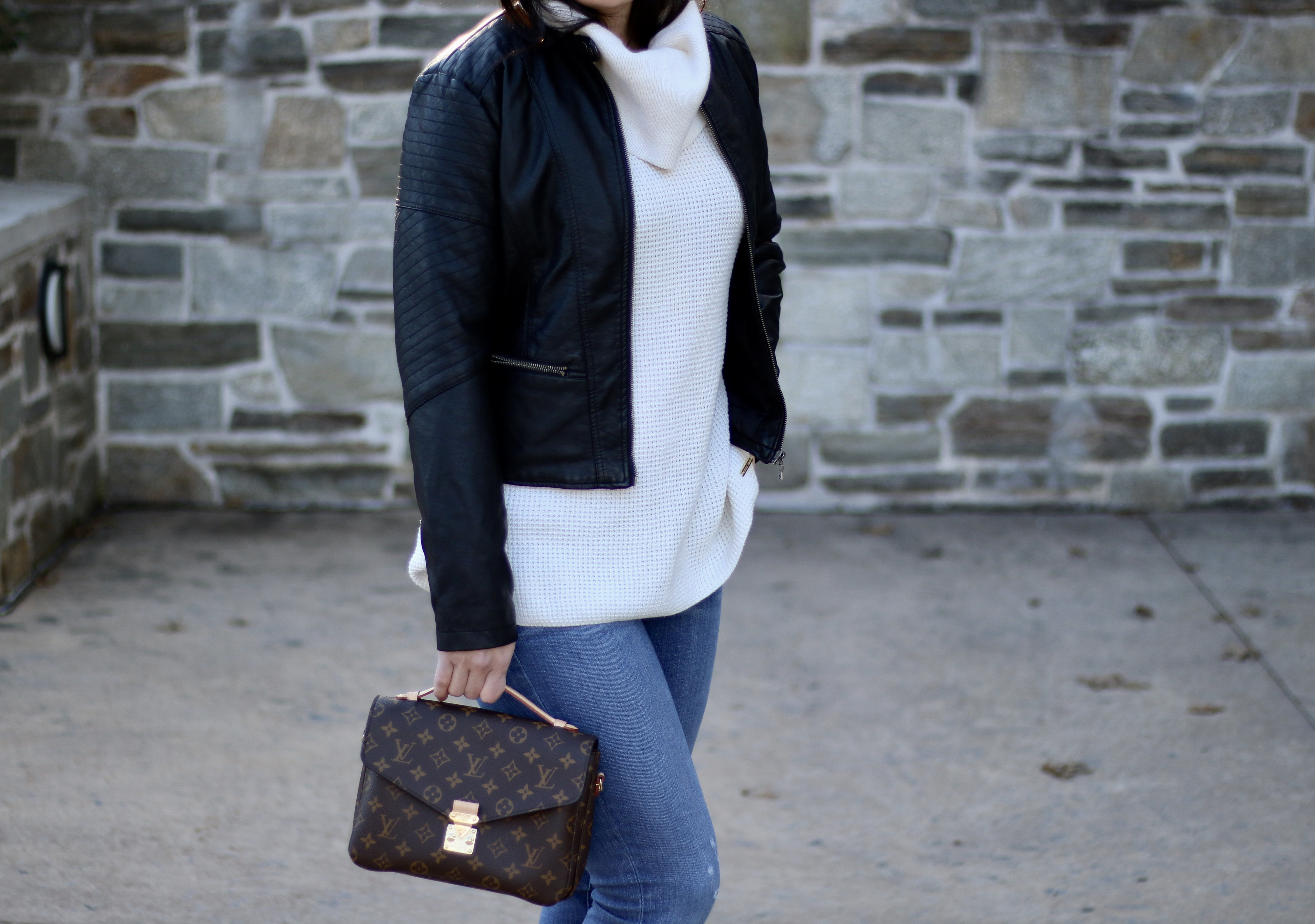 Leather Moto Jacket and Chunky Sweater