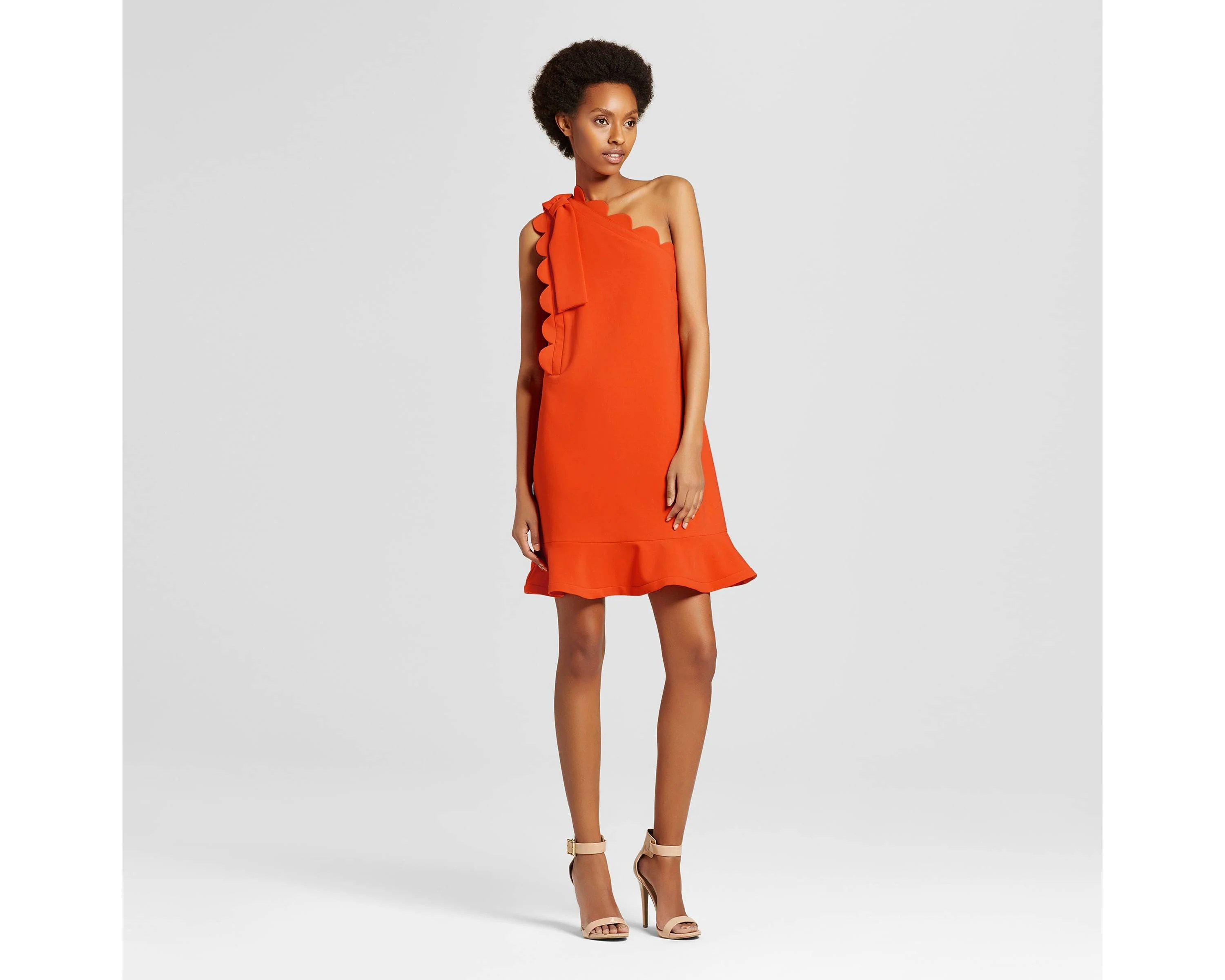 Orange One Shoulder Dress with Bow and Scallop Trim