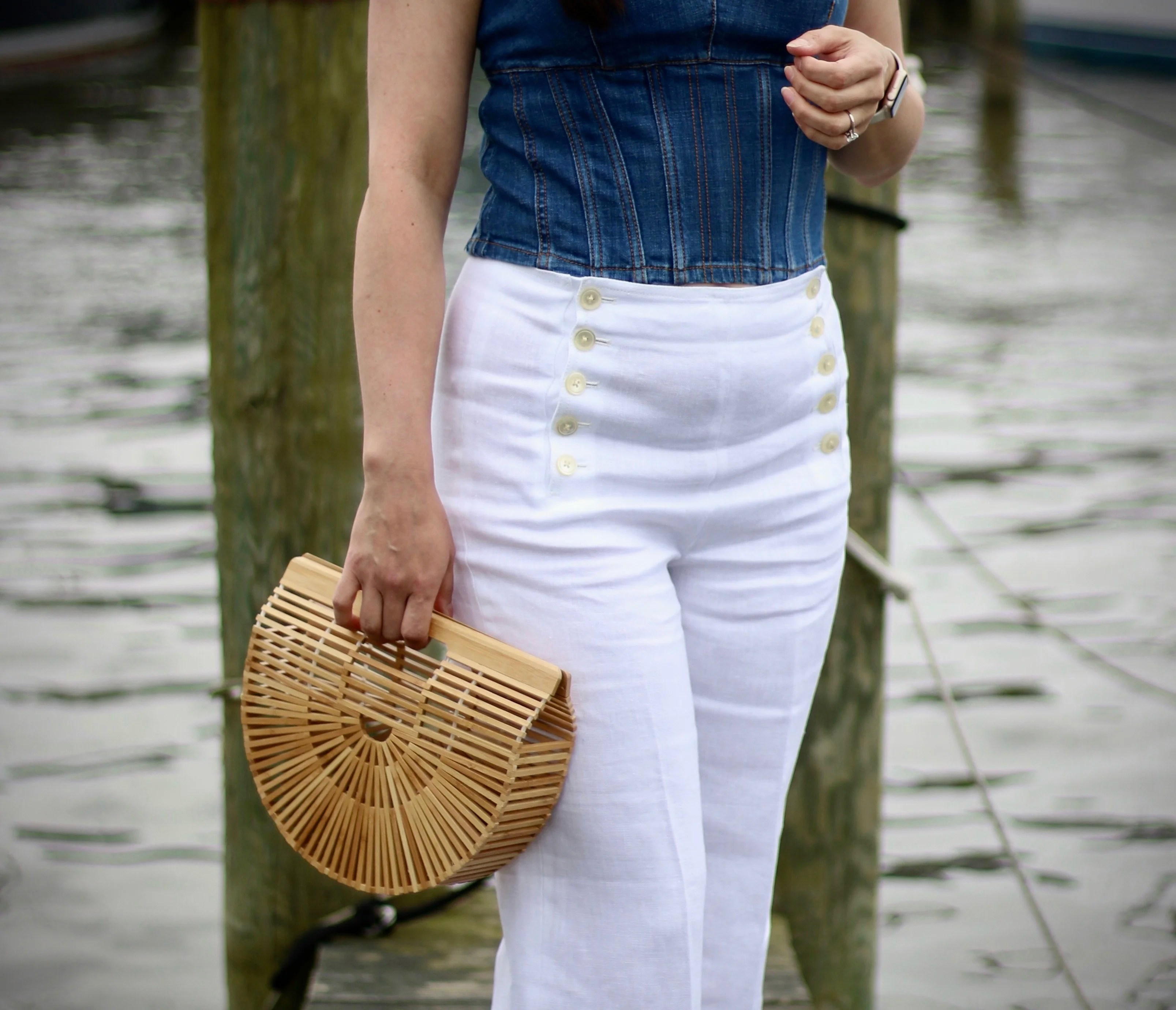 J.Crew Linen Sailor Pants, Denim Corset Top, Cult Gaia Arc Bag