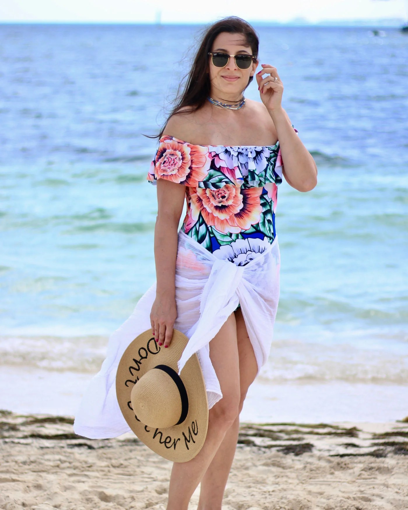 Bardot Floral Off The Shoulder Swimsuit