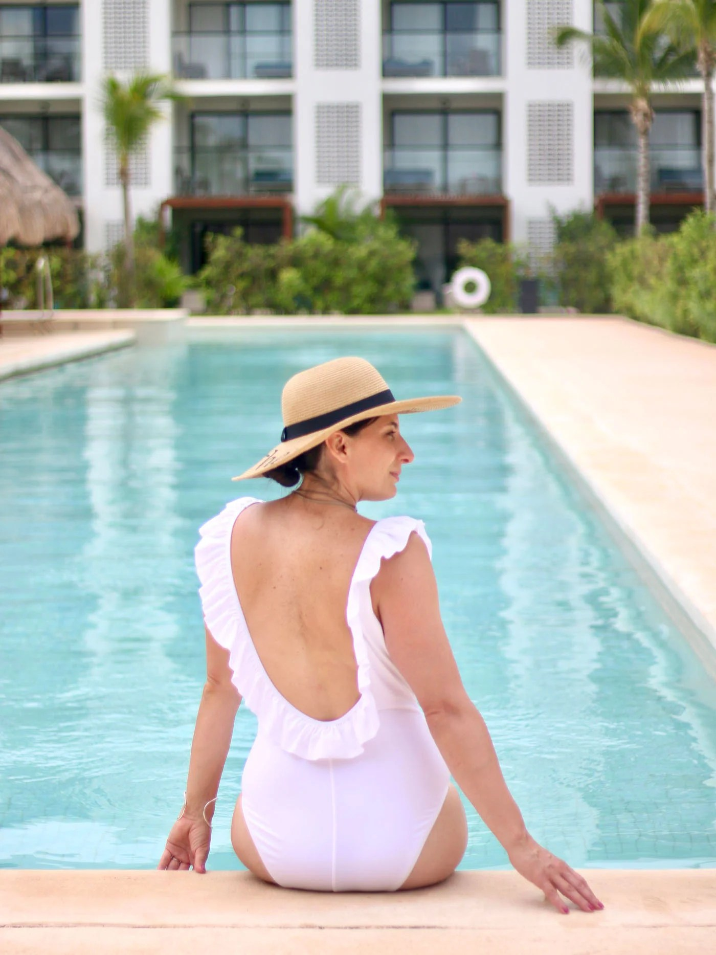 White Ruffle Swimsuit, Sassy Word Hat, Stella and Dot