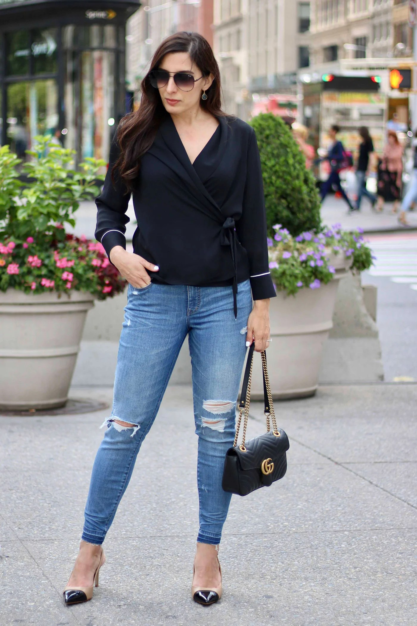 Zara Wrap Top, Madewell Jeans, Gucci Marmont Bag, Quay Sunglasses