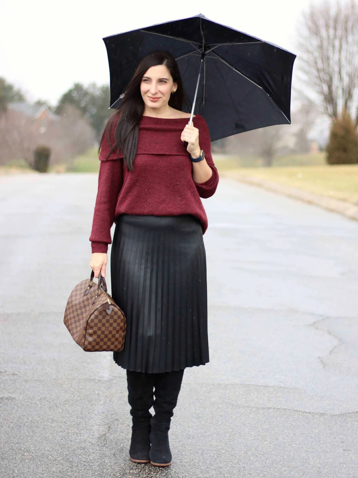 Off the shoulder Sweater, Pleated Leather Skirt, Over The Knee Boots, Louis Vuitton Speedy