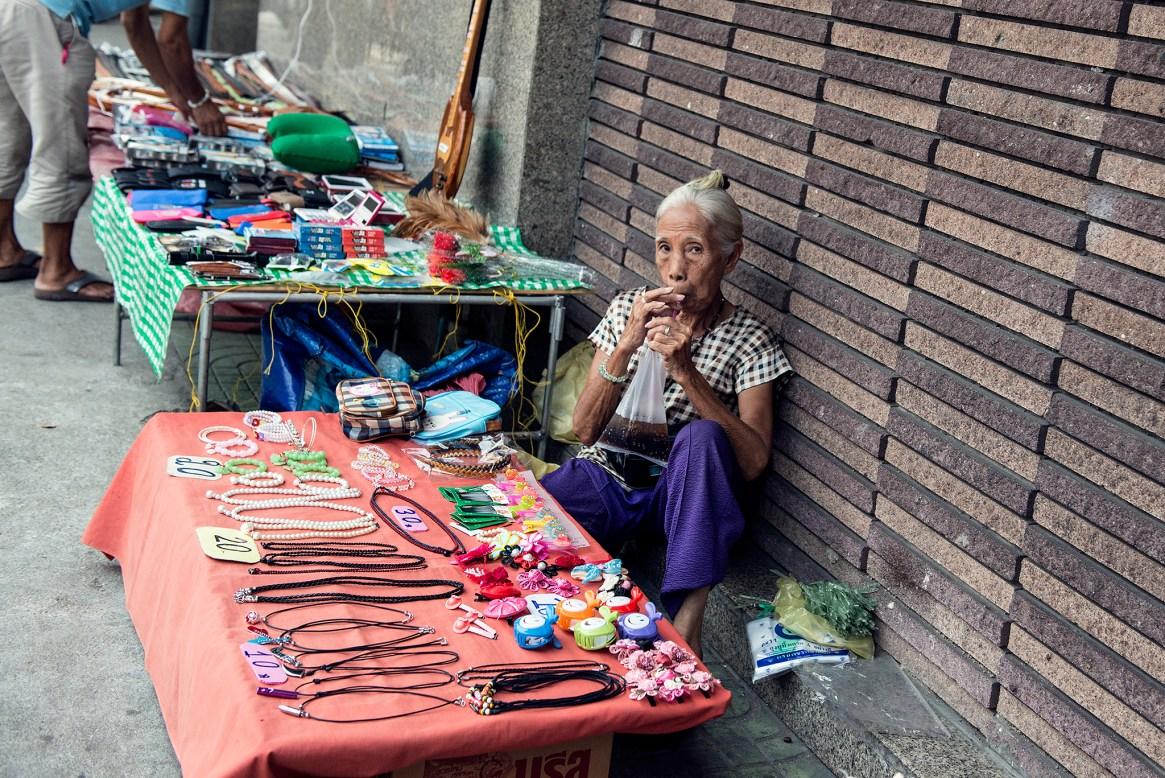 A street vendor sells cheap accessories in Bangkok