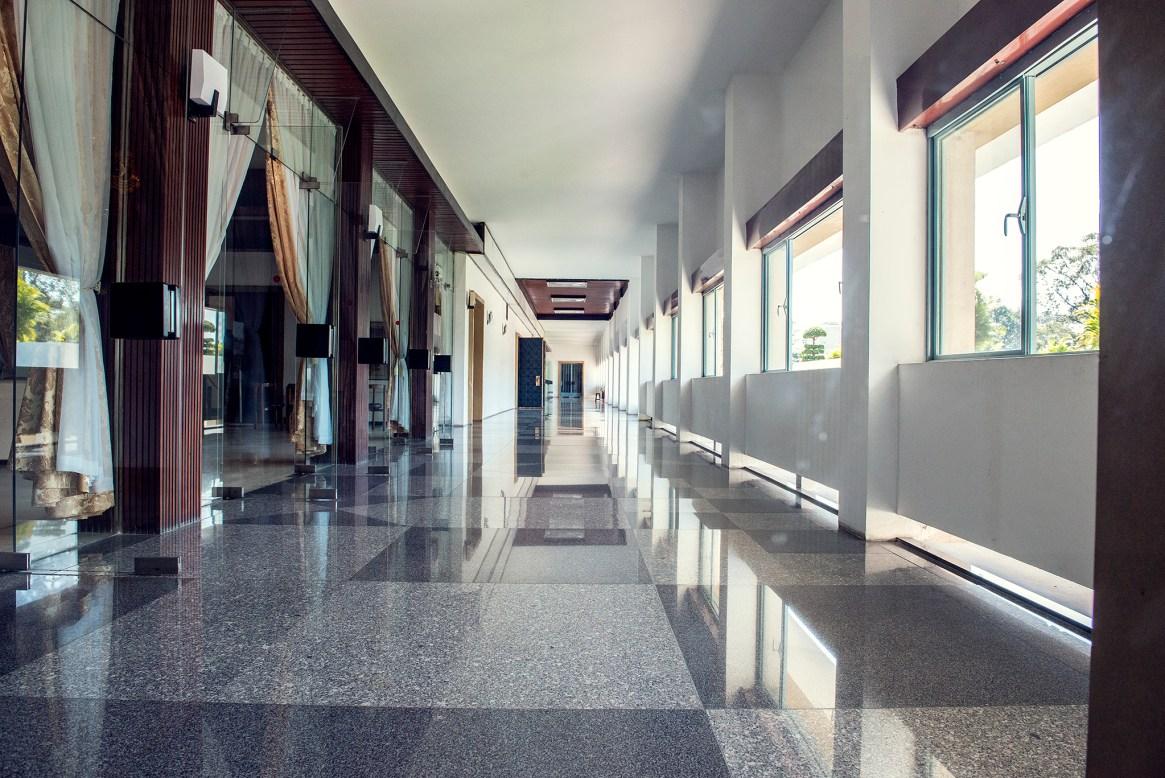 Marble-floored hallway