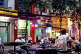 Busy low-light street scene in Ho Chi Minh City
