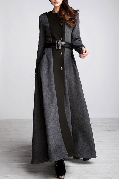 Color Block Cashmere Maxi Coat