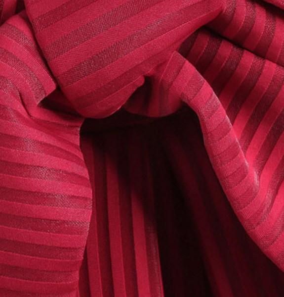 Casual Elegant Wine Red Bow Vertical Stripe Mid Skirt detaliu funda