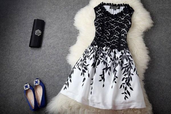 rochie seara din dantela aplica in alb si negru