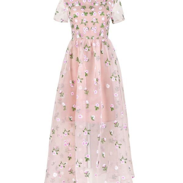 Rochii lungi brodate din matase si organza-floral roz