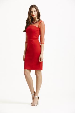 rochie de ocazie rosie scurta Little Mistress cu aplicatii pe decolteu