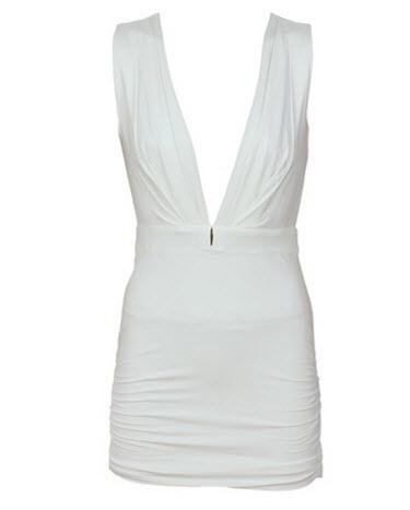 rochie scurta alba cu bretele si decolteu adanc in V by Wyldr model Laveh White