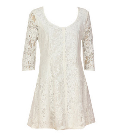 rochii albe din dantela-ROCHIE BERSHKA MAYNO WHITE