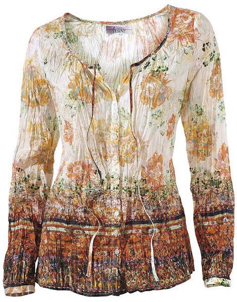 bluza Linea Tesini Cu imprimeu frumos. Fenta cu nasturi luciosi