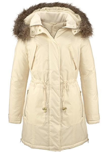 jacheta parka alb crem