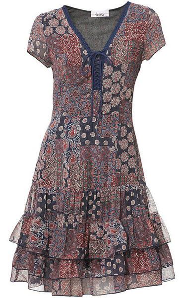 rochie Linea Tesini cu imprimeu atractiv Stil patchwork