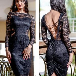 rochie neagra midi eleganta, din dantela diafana si spatele gol accesorizat cu lantisor