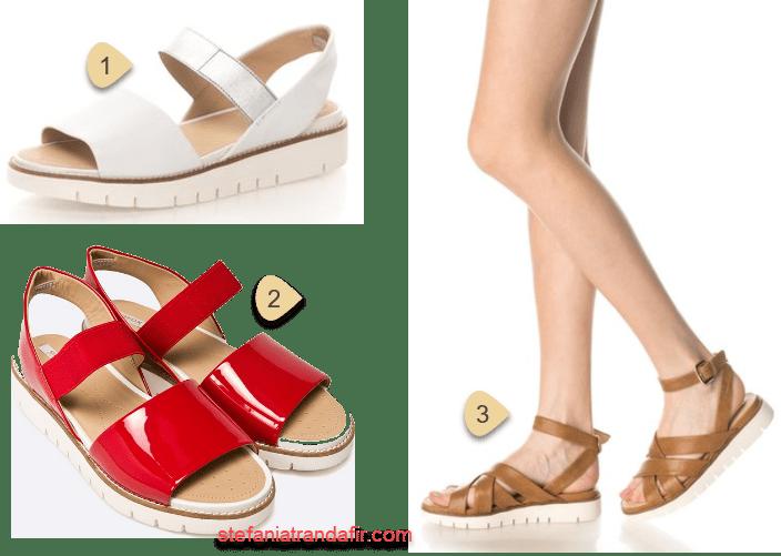 sandale cu talpa groasa alba zimtata