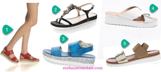 sandale de firma cu talpa groasa marsala albastre albe