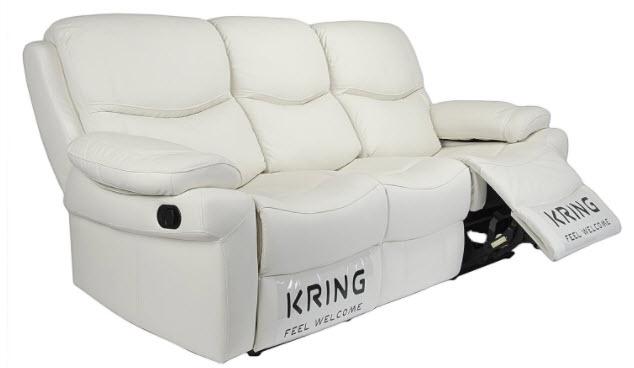 Canapea Kring Royal, 2 reclinere si 3 trepte de confort, piele naturala, Alb