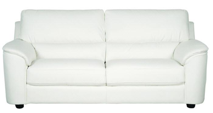 canapea 2 locuri din piele naturala alba