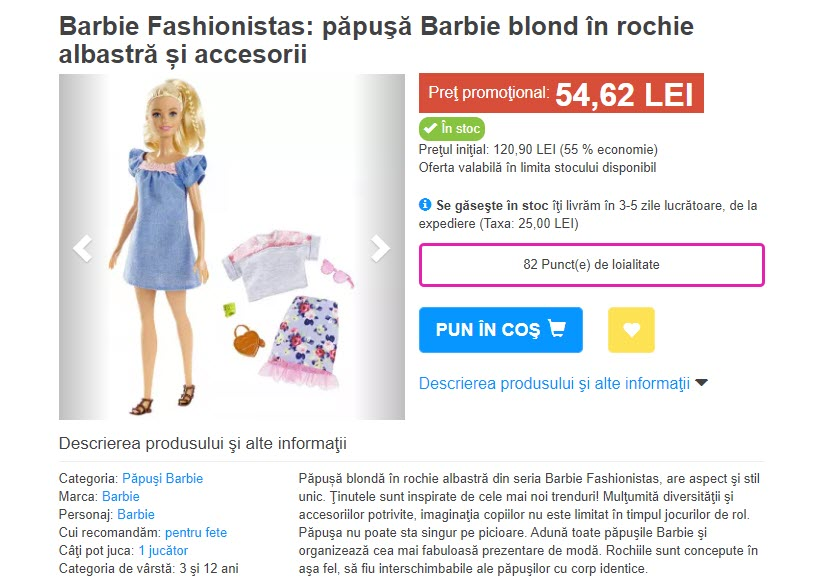 Set papusa Barbie Fashionistas 99 54 lei
