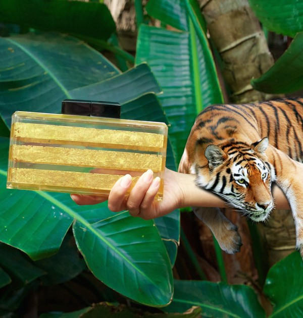 What I'm Really Saying Stripe Gold and Lucite Clutch