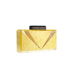 THE MAIN ACT V-DETAIL 24K GOLD AND LUCITE CLUTCH