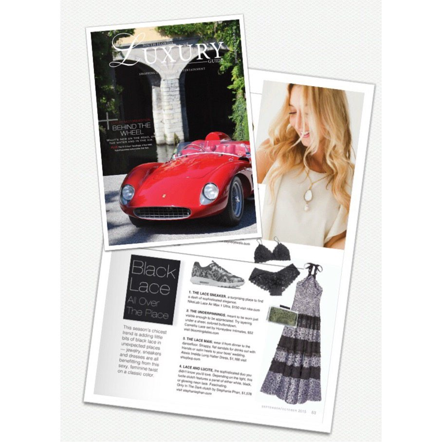 Stefanie Phan glow in the dark lace lucite acrylic clutch featured in South florida Luxury Guide