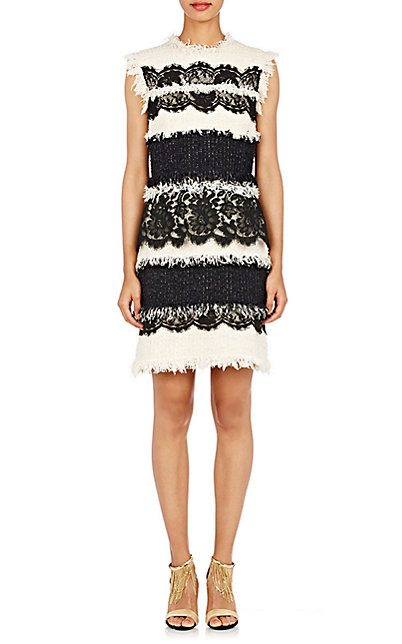Lanvin Lace & Grommet-Embellished Dress