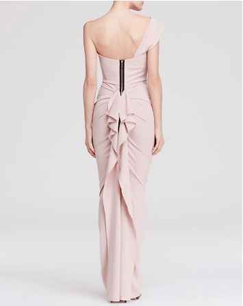 Nicole Bakti One Shoulder Ruffle Back Gown