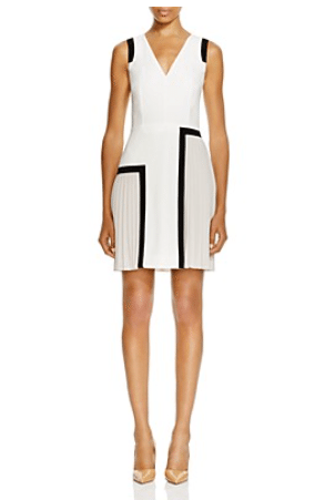 Paule Ka Sleeveless Pleat Detail Dress