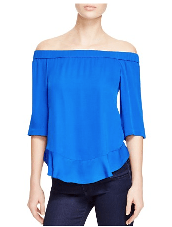 Rebecca Taylor Silk Chiffon Off the Shoulder Top