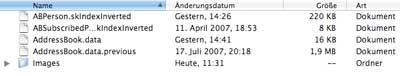 Screenshot: Adressbuch Ordner