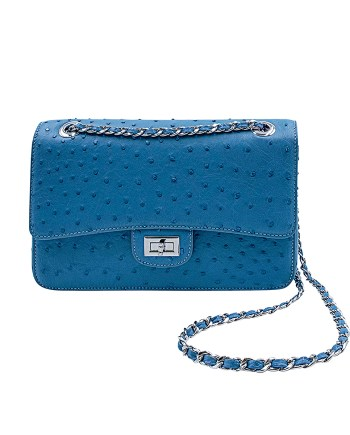 Blue Ostrich Chain Strap Crossbody