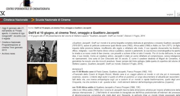 Cineteca Nazionale – Centro Sperimentale di cinematografia, 10 giugno 2014