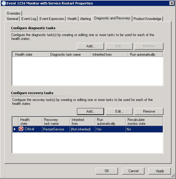 SCOM 2012 – Recovery Task Script for Restarting a Windows