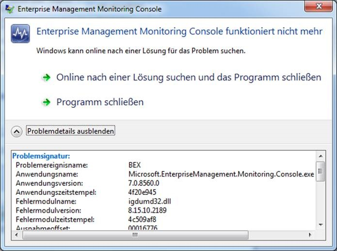SCOM 2012 – Console Error Microsoft EnterpriseManagement