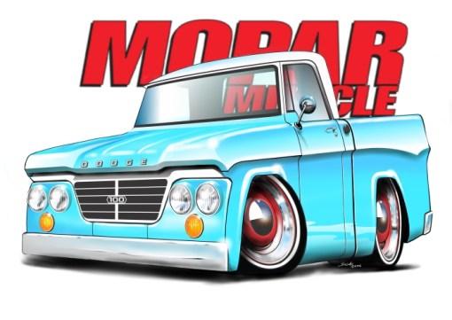 63 Dodge D100 Baby Blue, dodge trucks, cartoon car art, shop trucks,