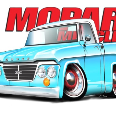 63 Dodge D100 Baby Blue, dodge trucks, cartoon car art, shop trucks,